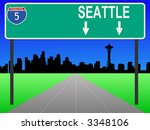 seattle skyline and interstate... | Shutterstock .eps vector #3348106