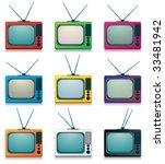 collection of retro tv | Shutterstock .eps vector #33481942