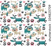 seamless cute pattern made with ... | Shutterstock .eps vector #334825709