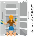 cleaning refrigerator   vector | Shutterstock .eps vector #33483367
