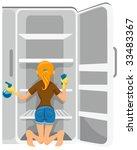 cleaning refrigerator   vector | Shutterstock .eps vector #33483367