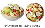 salad of tropical fruits in a... | Shutterstock . vector #334846469