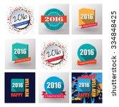 set of happy new year 2016 flat ...   Shutterstock .eps vector #334848425