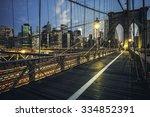 brooklyn bridge by night  new... | Shutterstock . vector #334852391