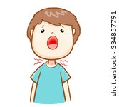 ill man sore throat because flu ... | Shutterstock .eps vector #334857791