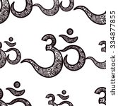 seamless pattern om or aum... | Shutterstock .eps vector #334877855