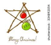 christmas doodle star... | Shutterstock .eps vector #334892054