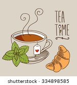 hand drawn vector ceramic tea... | Shutterstock .eps vector #334898585