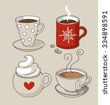 set of cute mug in doodle style | Shutterstock .eps vector #334898591