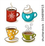 set of cute mug in doodle style | Shutterstock .eps vector #334898915