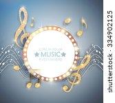 elegant gold  music circle... | Shutterstock .eps vector #334902125