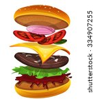 fast food burger with... | Shutterstock .eps vector #334907255