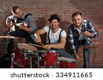 musicians playing the drums on... | Shutterstock . vector #334911665