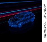brandless generic wireframe car ... | Shutterstock . vector #334920299