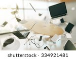 concept of chaos in the office... | Shutterstock . vector #334921481