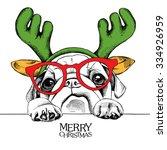 portrait dog pug in a reindeer... | Shutterstock .eps vector #334926959