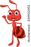 illustration of cute ant cartoon | Shutterstock .eps vector #334932401