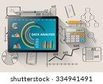 comparing statistics in... | Shutterstock .eps vector #334941491
