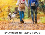Stock photo beautiful young couple on a walk in autumn forest 334941971