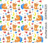 seamless pattern with sleeping... | Shutterstock .eps vector #334942325