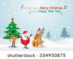 santa claus  snowman  reindeer  ... | Shutterstock .eps vector #334950875