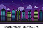 seamless cartoon night city...