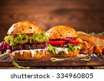 delicious hamburger served on... | Shutterstock . vector #334960805