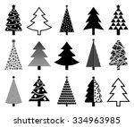 christmas tree icon collection  ... | Shutterstock .eps vector #334963985