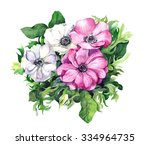 pink and white anemone flowers. ... | Shutterstock . vector #334964735