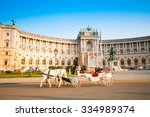 Small photo of VIENNA, AUSTRIA - OCTOBER 19, 2015: Traditional old-fashioned fiacre in Hofburg, Vienna, Austria