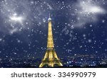 eiffel tower with snowflakes ...
