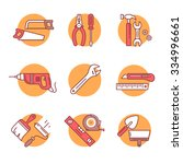 home tools and hardware set.... | Shutterstock .eps vector #334996661