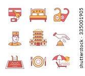 hotel signs set. thin line art... | Shutterstock .eps vector #335001905