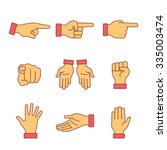 Hand Gestures Signs Set. Thin...