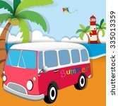 summer theme with van on the... | Shutterstock .eps vector #335013359