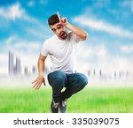 crazy man jumping | Shutterstock . vector #335039075