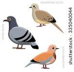 Bird Dove Pigeon Set Cartoon...