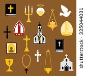 Religious Flat Icons With Bible ...