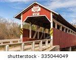 glessner bridge  a covered... | Shutterstock . vector #335044049