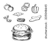 cheeseburger sketch with... | Shutterstock .eps vector #335048645