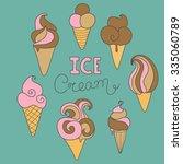 hand drawn ice cream set   Shutterstock .eps vector #335060789