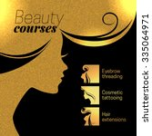 Gold beautiful girl silhouette. Vector illustration of woman beauty salon design. Infographics for cosmetic salon. Beauty courses and training poster | Shutterstock vector #335064971