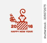 2016 new year funny card with... | Shutterstock .eps vector #335072075