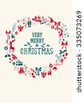 christmas wreath decorative... | Shutterstock .eps vector #335073269