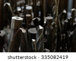 close up of lots of drills bits.... | Shutterstock . vector #335082419