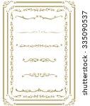 decorative gold frame set... | Shutterstock .eps vector #335090537