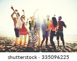 teenagers friends beach party... | Shutterstock . vector #335096225