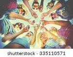 beach cheers celebration... | Shutterstock . vector #335110571
