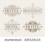 luxury logo and monogram line... | Shutterstock .eps vector #335125115