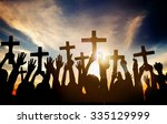 group of people holding cross... | Shutterstock . vector #335129999